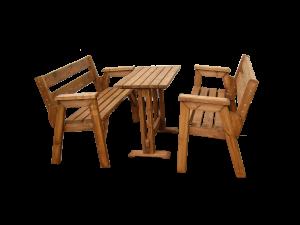 τραπέζι με παγκάκια από ξύλο