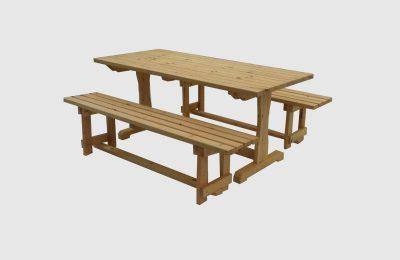 Ξύλινο τραπέζι με δύο παγκάκια – Κωδ. 17-01