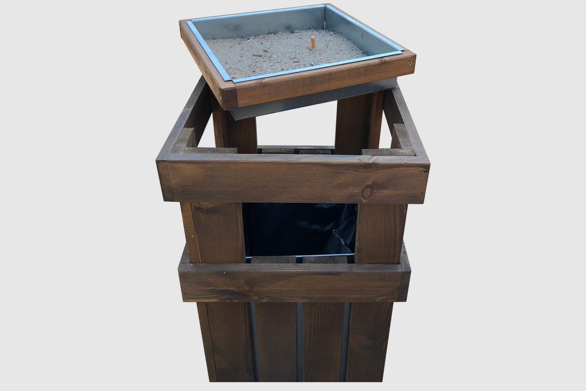 Κάδος με τασάκι ξύλινος - Καλαθάκι