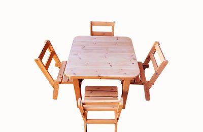 Σετ τραπέζι με καρέκλες από ξύλο μασίφ – Κωδ.: 18-01